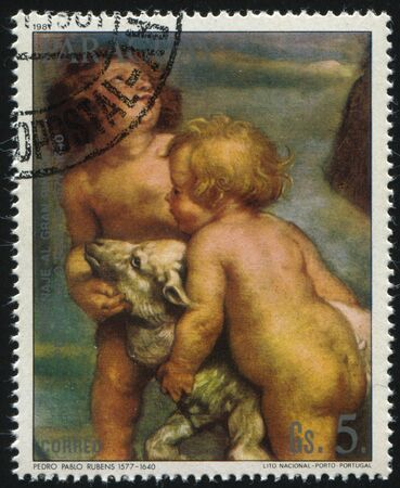 allegory painting: RUSSIA KALININGRAD, 19 APRIL 2017: stamp printed by Paraguay, shows Painting Madonna and Child Reigning Among Saints by Rubens, circa 1981 Editorial
