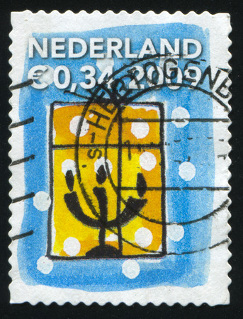 RUSSIA KALININGRAD, 4 JULY 2017: stamp printed by Netherlands shows merry christmas holiday, circa 2009 Editorial