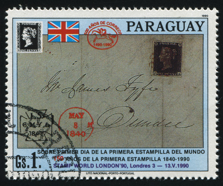old envelope: RUSSIA KALININGRAD, 22 APRIL 2017: stamp printed by Paraguay, shows Penny Black on cover, circa 1990