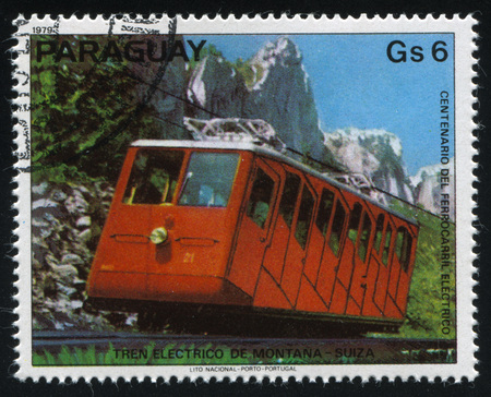 RUSSIA KALININGRAD, 22 APRIL 2017: stamp printed by Paraguay, shows Mountain Train from Switzerland, circa 1979 Editorial