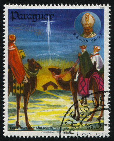 christmas grounds: RUSSIA KALININGRAD, 22 APRIL 2017: stamp printed by Paraguay, shows Three Kings, circa 1984 Editorial