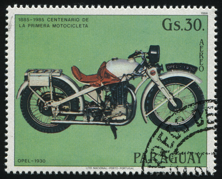 motobike: RUSSIA KALININGRAD, 22 APRIL 2017: stamp printed by Paraguay, shows Motocycle Opel 1980, circa 1984