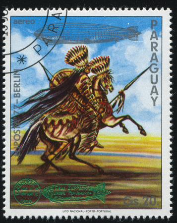 RUSSIA KALININGRAD, 22 APRIL 2017: stamp printed by Paraguay, shows  Indian on horse, circa 1977