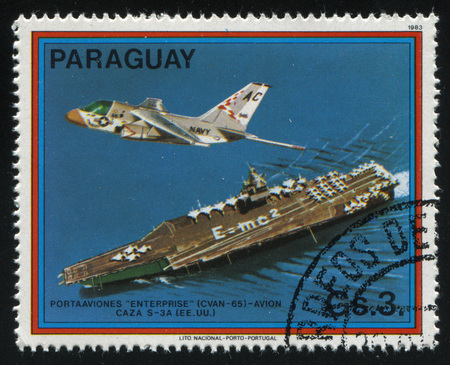RUSSIA KALININGRAD, 22 APRIL 2017: stamp printed by Paraguay, shows Enterprise, S-3A Viking, US, circa 1983