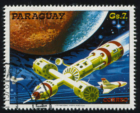 RUSSIA KALININGRAD, 22 APRIL 2017: stamp printed by Paraguay, shows futuristic space vehicle, circa 1978