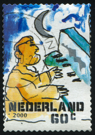 RUSSIA KALININGRAD, 4 JULY 2017: stamp printed by Netherlands shows merry christmas holiday, circa 2000