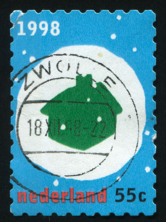 RUSSIA KALININGRAD, 4 JULY 2017: stamp printed by Netherlands shows merry christmas holiday, circa 1998