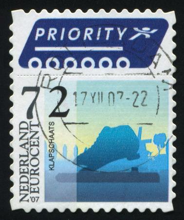 RUSSIA KALININGRAD, 21 JUNE 2017: stamp printed by Netherlands shows skating, circa 2007 Editorial