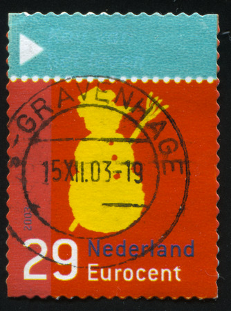 RUSSIA KALININGRAD, 4 JULY 2017: stamp printed by Netherlands shows merry christmas holiday, circa 2003 Editorial