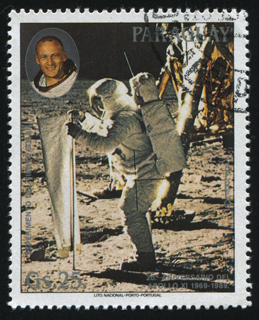 RUSSIA KALININGRAD, 22 APRIL 2017: stamp printed by Paraguay, shows  Buzz Aldrin and solar wind experiment, circa 1989