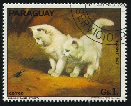 러시아 칼리닌그라드, 1977 년경 가브리엘 Rainer Istvanffy에 의해 그린 두 개의 새끼 고양이 보여줍니다 파라과이에 의해 인쇄 스탬프 2017 : 스탬프