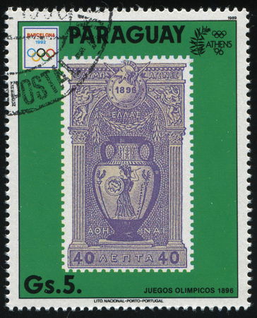 RUSSIA KALININGRAD, 22 APRIL 2017: stamp printed by Paraguay, shows the stamp with the view of Greece Vase, circa 1989