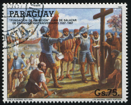 RUSSIA KALININGRAD, 19 APRIL 2017: stamp printed by Paraguay, shows Founding of Asuncion, circa 1987