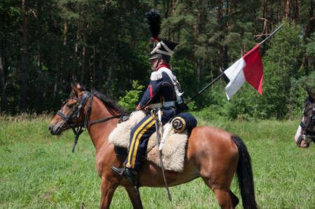 RUSSIA KALININGRAD, 30 JUNE 2019: Historical reenactment of the Battle of Friedland,  Napoleonic Wars  Kaliningrad region, Russia.