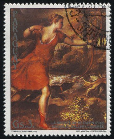 RUSSIA KALININGRAD, 19 APRIL 2017: stamp printed by Paraguay, shows Painting Death of Actaeon by Titian, circa 1989 Editorial
