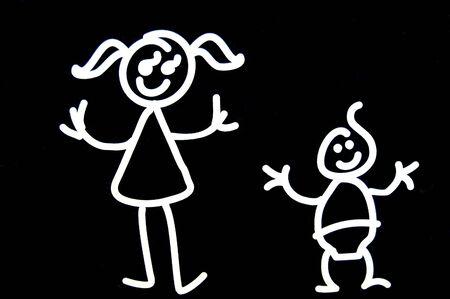 illustrated: Illustrated isolated white children on black background