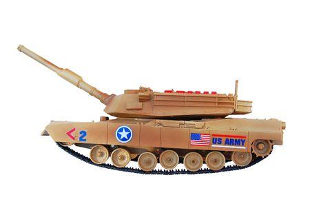 US army toy tank on white background photo