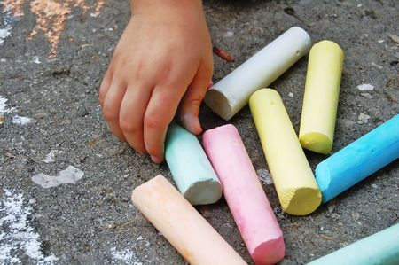 objects: hand picking colored chalk