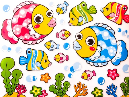 Set of Cute cartoon fishes photo