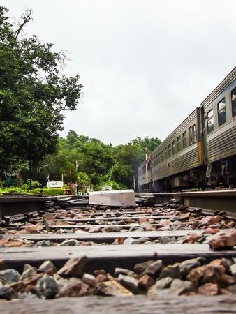 sleepers: Junction railway tracks on sleepers with switch Stock Photo