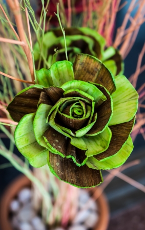 Rose flower made from banana stalk with green colour. photo