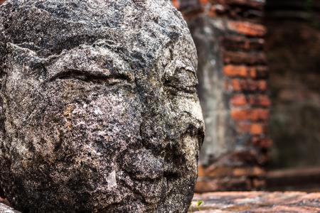 Close up old head of buddha in wat phra ram ,Ayutthaya photo