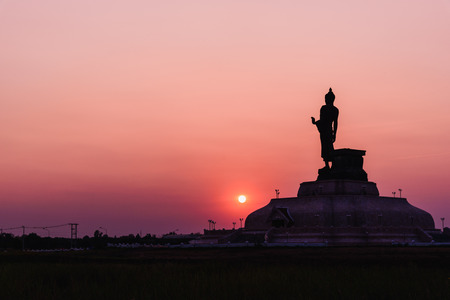 The Silhouette of Big Buddha in sunset time