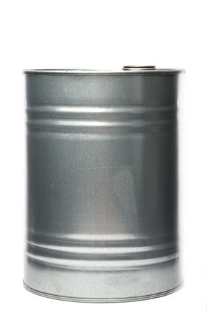 oil barrel: Grey metal oil and chemical drum over the white background, isolated
