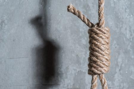 bucle: lazo del verdugo sobre el muro de hormig�n Foto de archivo