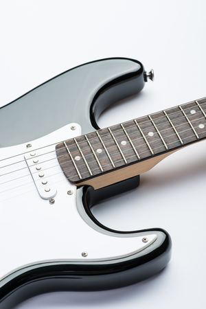 frets: Guitar frets with strings Stock Photo
