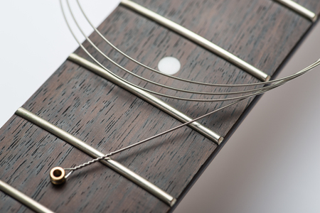 frets: Guitar frets with string