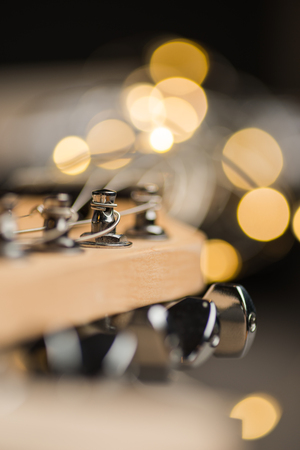 frets: Guitar frets with strings and lights Stock Photo
