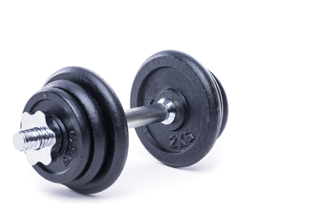 heavy heart: Black and chrome classic dumbbell on white Stock Photo