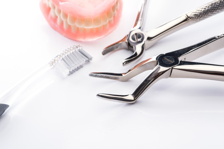 forceps: Teeth model with toothbrush and forceps on white surface