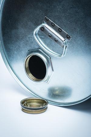 hazardous: Steel drum for hazardous chemicals Stock Photo