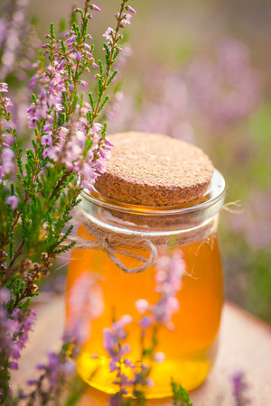Honey. Jar with natural heather honey in a bush of heather under the evening sun Stock Photo
