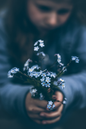 part of me: Norway, Girl (8-9) holding bouquet of forget-me-not flowers