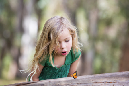 Girl (4-5) looking at butterfly on log LANG_EVOIMAGES