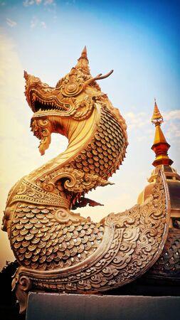 Thailand, Khon Kaen, Buddhist dragon temple statue LANG_EVOIMAGES