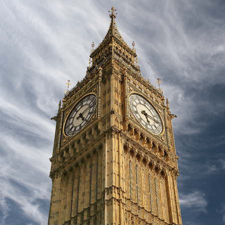 UK, England, London, Low angle view of Big Ben