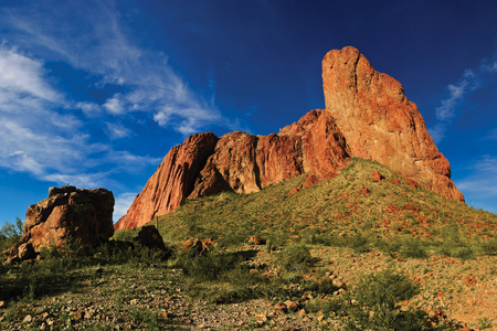 USA, Arizona, La Paz County, Courthouse Rock, Approach Bench and Judged Bench Rock Formation LANG_EVOIMAGES