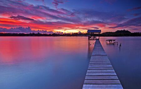 Malaysia, Tuaran Sabah, Sunset over Gayang village