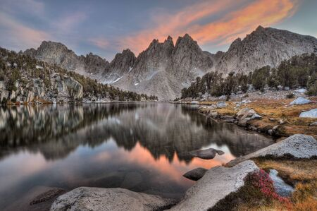 USA, California, Sierra Nevada Range, Evening reflections of Kearsarge Pinnacles