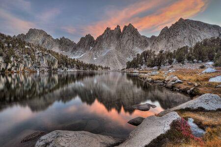 nevada: USA, California, Sierra Nevada Range, Evening reflections of Kearsarge Pinnacles