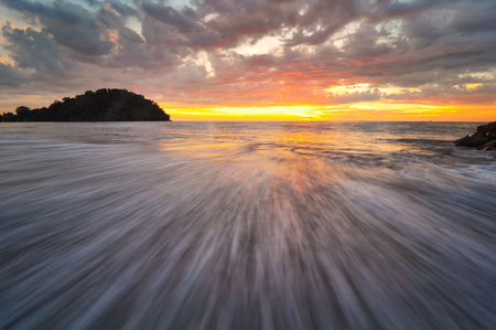 Indonesia, Padang, Taplau Beach, Wave and sunset LANG_EVOIMAGES