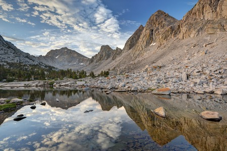 nevada: USA, California, Ansel Adams Wilderness Area, Inyo National Forest, Morning Reflections in Kearsarge Lakes LANG_EVOIMAGES
