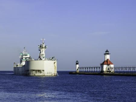st  joseph: USA, Michigan, St. Joseph, Lake freighter approaching port