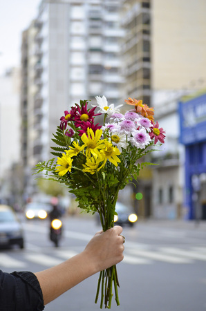 Argentina, Buenos Aires, Woman holding bunch of flowers