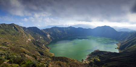 crater lake: Ecuador, Elevated view of Quilotoa Lake LANG_EVOIMAGES