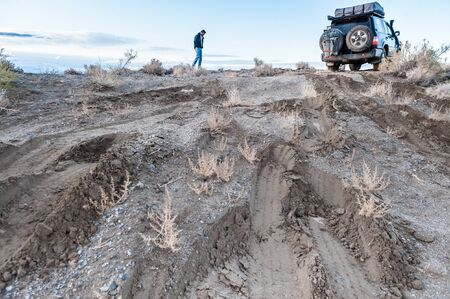 nevada: USA, Nevada, Black Rock Desert, Driver checking conditions